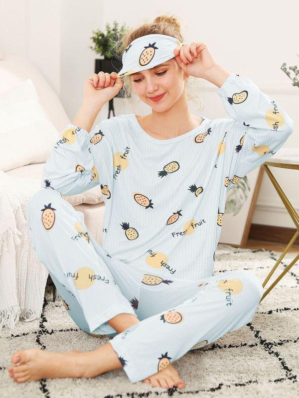 900e56005 Conjunto de pijama con piña impresa con antifaz -Spanish SheIn(Sheinside)