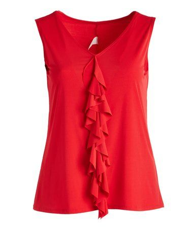 Loving this Red Ruffle Tank - Plus on #zulily! #zulilyfinds
