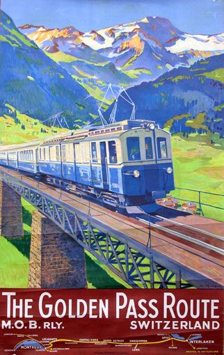 vintage travel poster: The Golden Pass Route, M.O.B. rly., Switzerland