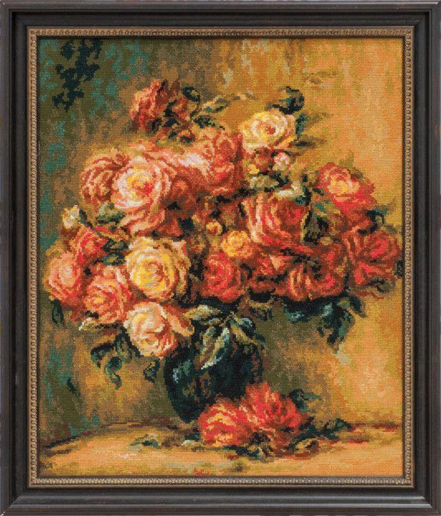 Riolis, Tavla Bukett med rosor, 451487, Efter en tavla av den kända konstnären Pierre-August Renoir!<br/><br/><br/>Broderas med ull/akryl- och moulinégarn i räknade korsstygn på vit aidaväv, 5,4 rutor/cm