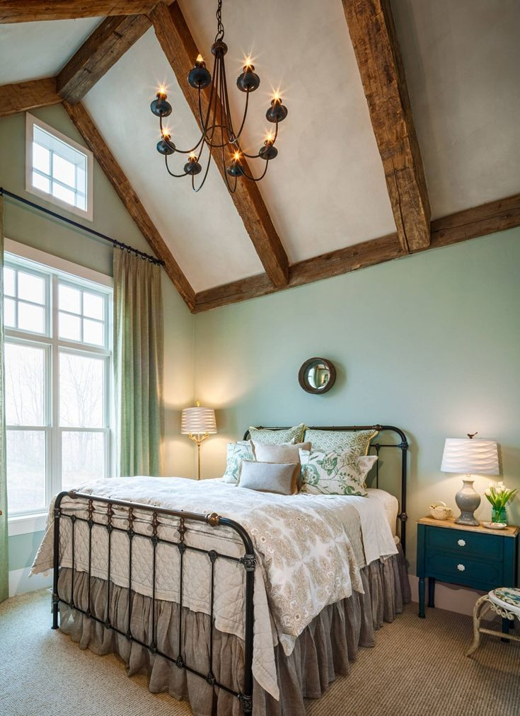 Farmhouse Green Bedroom Rustic Beams | TheBestWoodFurniture.com