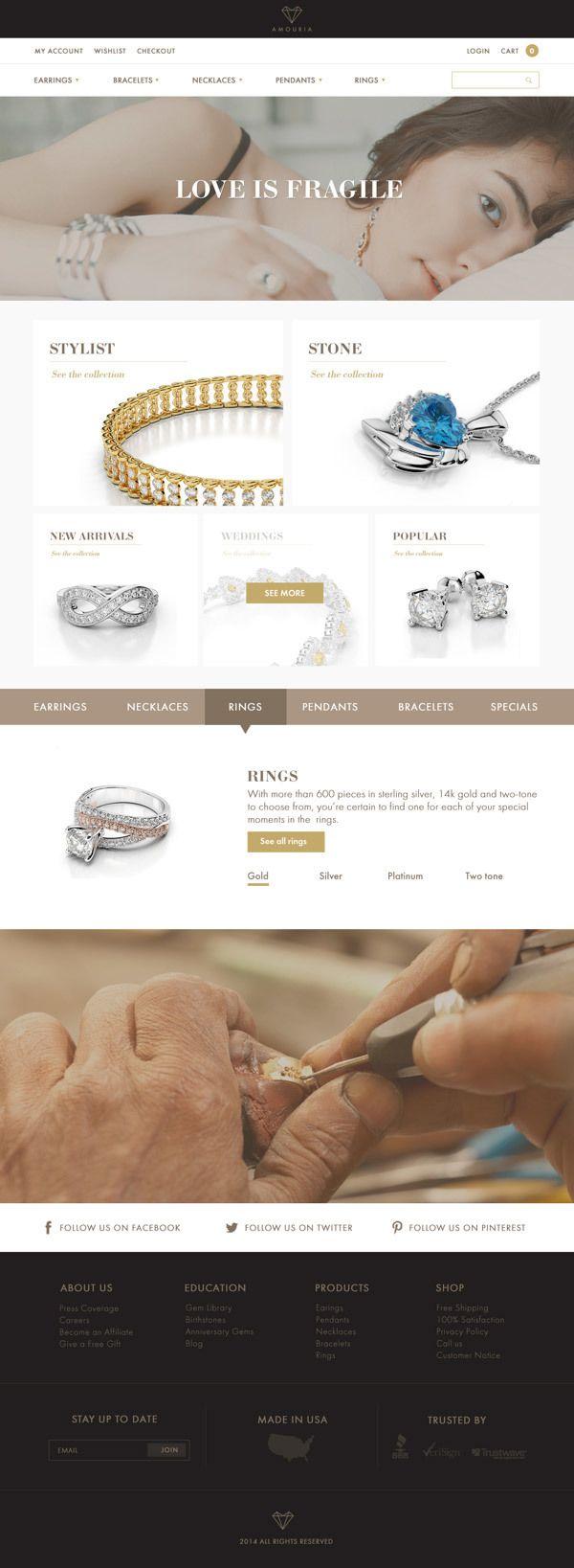 Amouria jewelry website design on Web Design Served