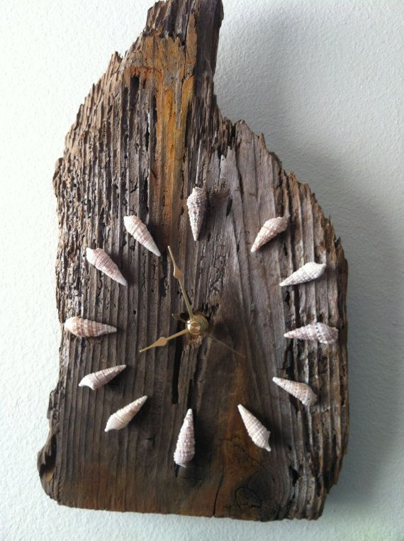 Handmade Drift Wood Wall Clock with Sea Shells for Beach Decor (lot 437) on Etsy, $30.00
