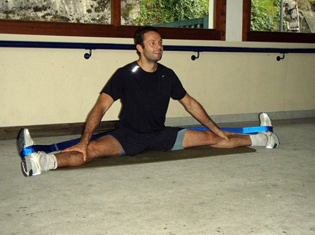 strap stretching for calf and hamstring