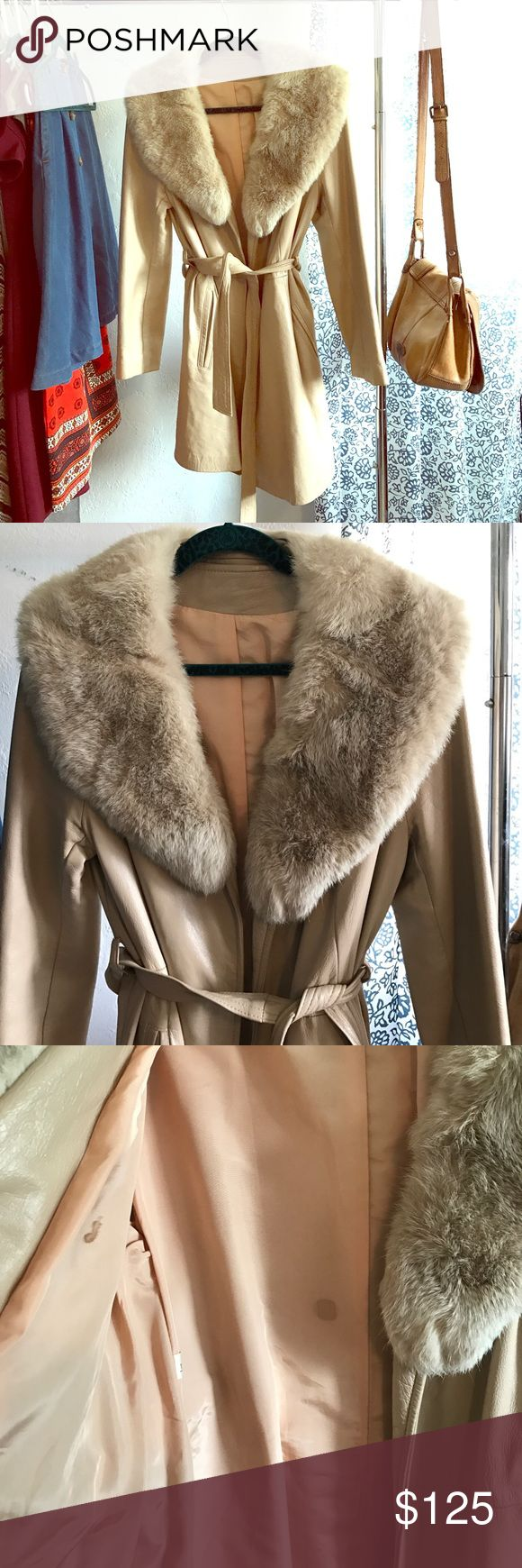 """Vintage 1960s Leather & Rabbit Fur Coat For sale is a vintage glam 1960s leather & rabbit fur jacket.  Brand: Unmarked Size: Unmarked Material: Leather and Rabbit Fur Measurements: --- Bust: 38"""" --- Waist: 35"""" --- Hip: 40"""" --- Shoulder: 20"""" --- Sleeve Length: 23"""" --- High-Point Shoulder to Hem: 34"""" Era: 1960s Pockets: Yes Shoulder Pads: No Condition: Very good, just a few marks on the lining (pictured) Jackets & Coats"""