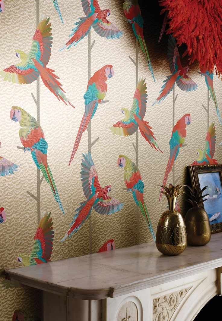 Matthew Williamson in collaboration with Osborne & Little. Matthew Williamson in collaboration with Osborne & Little. The Arini Sheer wallpaper from the 2015 Cubana collection. The tropical birds with colourful. metallic plumage are set on contrasting grounds.