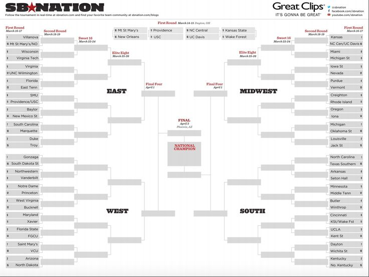 Printable NCAA bracket 2017: Fill out your March Madness picks - SBNation.comclockmenumore-arrow : Here's a copy of the field of 68 to fill out by hand.