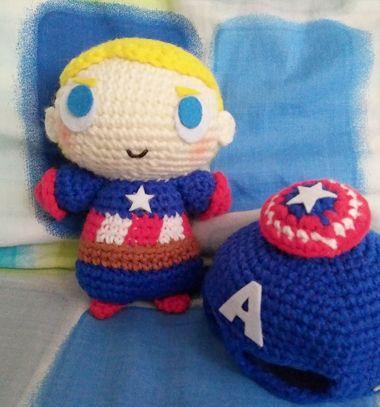 Crochet (amigurumi) Captain America doll - free crochet pattern // Horgolt Amerika kapitány plüssjáték (ingyenes amigurumi minta) // Mindy - craft tutorial collection // #crafts #DIY #craftTutorial #tutorial #amigurumi #crochet #freeCrochetPattern #freeAmigurumiPattern
