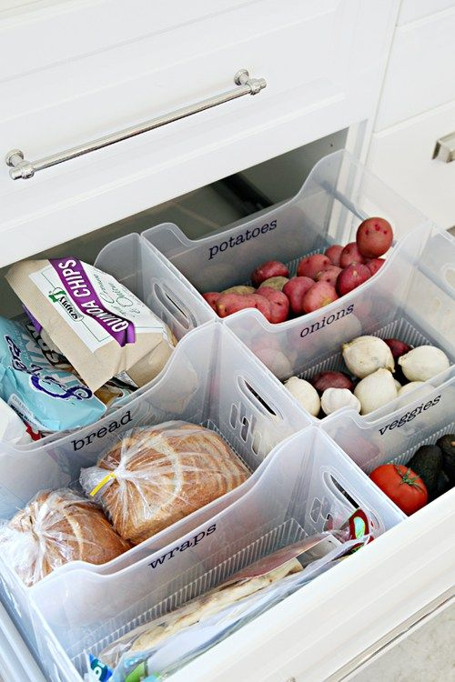 Easy Tips to Organize the Kitchen - Create a Pantry Drawer with Multi Purpose Labeled Bins via i heart organizing