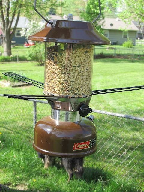 Vintage Coleman Lantern Bird Feeder