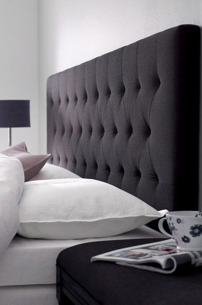 Elegant upholstered headbord in black.