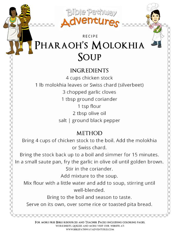 Bible Recipe for Kids: Pharaoh's Molokhia Soup