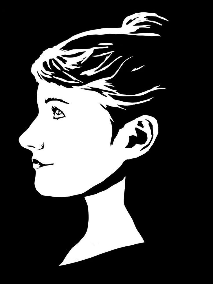 Scherenschnitt Profil Mädchen