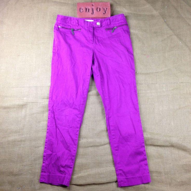 MICHAEL Michael Kors Lzzy Purple Mid-Rise Skinny Pants Womens Size 8 #MICHAELMichaelKors #CasualPants
