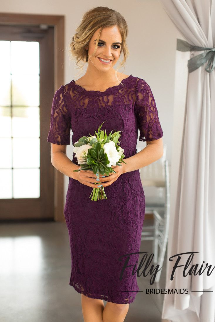 Your bridesmaids will feel beautiful and classic in this beautiful and modest lace bridesmaid dress! Perfect for any sort of wedding, this short lace bridesmaid dress is partially sleeved, perfect for