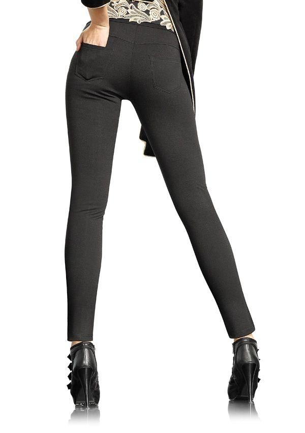 LEGGINSY CLASSIC 852 Ponadczasowe leginsy imitujące spodnie 180 den, niezwykle miłe i miękkie w dotyku. Posiadają doszyte kieszenie. 100% kryjące.
