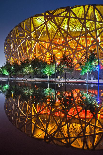 Bird's Nest Stadium Beijing, China (the reflection is beautiful) via   Flickr - Photo Sharing!