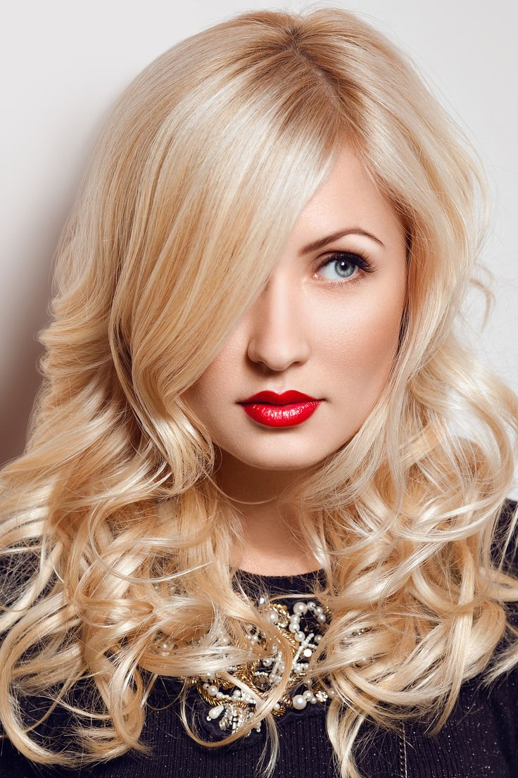 Beautiful blonde with red lips  glamour model woman blonde hairdo red lipstick makeup
