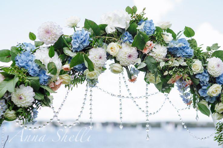 Цветочная арка для выездной регистрации  Оформление выездной  регистрации  Свадебная арка с живыми цветами  Свадебная арка с голубыми цветами Оформление свадьбы от Anna Shelli