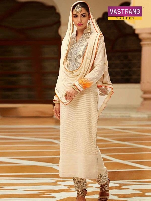 Party wear white embroidered salwaar kameez