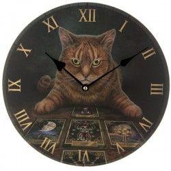 Orologio da parete muro gatto micio chiromante tarocchi fantasy