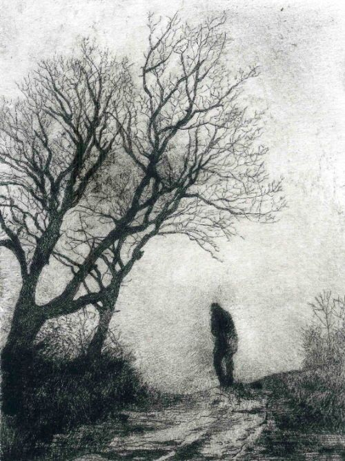 La Fuite by Bruno Cavellec - drypoint