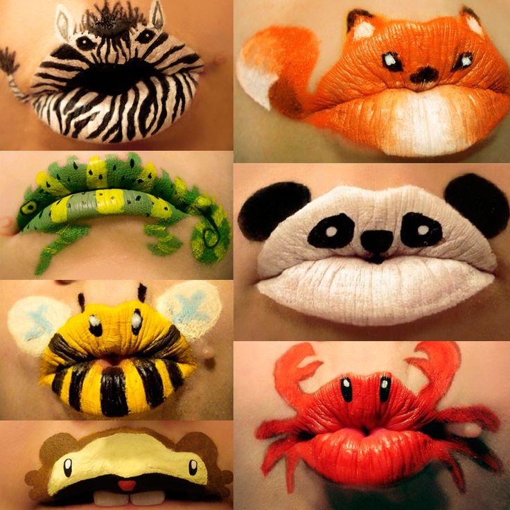 bocas animales Maquillaje para Halloween, labios de animales