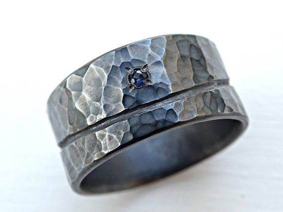 Beach Wedding Ring Silver Wave Silver Ring Black Silver Mens