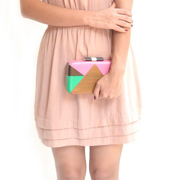 Love triangle clutch - #rachanareddy #bags #clutch #india #wood #handcrafted #woodenclutch #fashion #elegant #nostalgic #summer #statementaccessory #ss14  #ecofashion #easybreezy #graphicprint #sorbet #lovetringle Shop here: www.rachanareddy.com