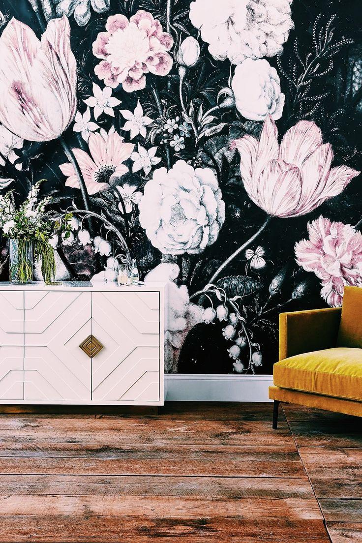 """cupcakekristie: """"Fleurir Mural + Geo Ripple Buffet + Velvet Mina Chair """""""