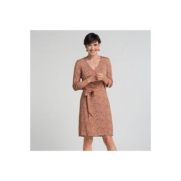 Plus Size Samantha Brown Walkabout Knit Dot Wrap Dress (4.415 RUB) ❤ liked on Polyvore featuring plus size women's fashion, plus size clothing, plus size dresses, knit wrap dress, plus size brown dress, polka dot dress and polka dot wrap dress