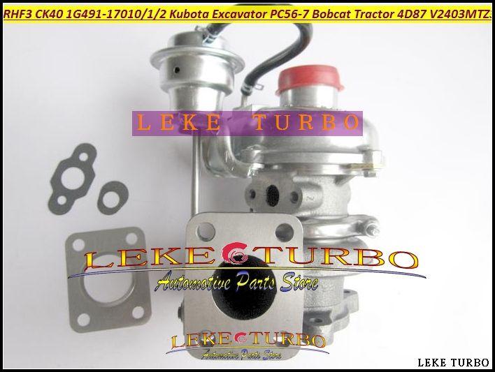 209.29$  Buy now - http://aliltx.worldwells.pw/go.php?t=32446365971 - RHF3 CK40 1G491-17010 1G491-17011 1G491-17012 Turbo Turbocharger For Kubota Excavator PC56-7 Bobcat Tractor 4D87 V2403-M-T-Z3B