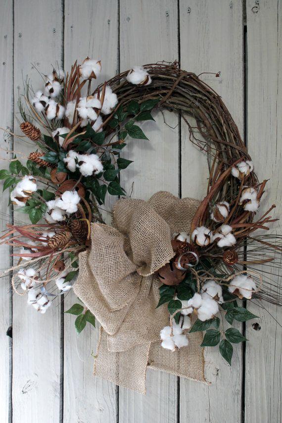 Primitive Cotton Boll Wreath, Raw Cotton Bolls,  Everyday Wreath, Primitive Decor, Free Shipping