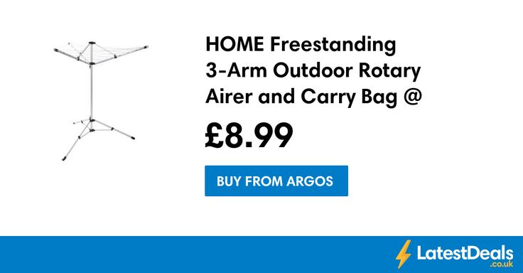 HOME Freestanding 3-Arm Outdoor Rotary Airer and Carry Bag @ Argos, £8.99