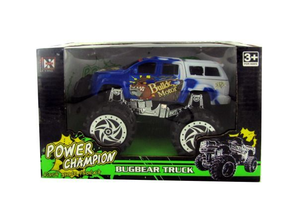 "Friction Big Wheel Super Power Truck, 6 - Race to the finish line or go off-roading with this Friction Big Wheel Super Power Truck. The heavy duty truck is painted with a ferocious bulldog design. Kids love friction-powered toy trucks and no batteries are needed for endless hours of play. Comes packaged in an individual window box. Package measures approximately 8.5"" x 5"" x 5.5"".-Colors: black,brown,white,blue,red,silver. Material: metal,plastic. Weight: 1.75/unit"