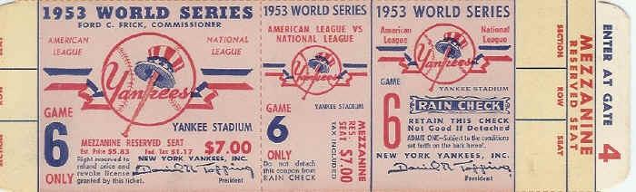 1953 world series tickets