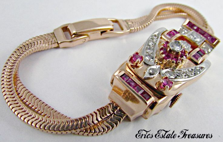 Bijoux American Vintage : Montre secr?te femme or rose diamants et rubis