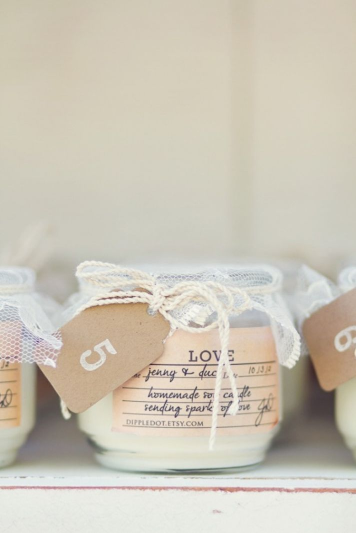 Fabulous Wedding Favors that Your Guests will Adore!:    Homemade Soy Candle Favor