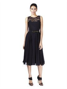 SLEEVELESS CUTOUT DETAIL DRESS WITH SELF BELT - Oscar de larenta