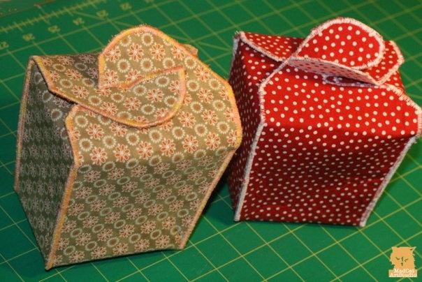 Fabric Takeout Box Pattern--one piece but machine stitch edge