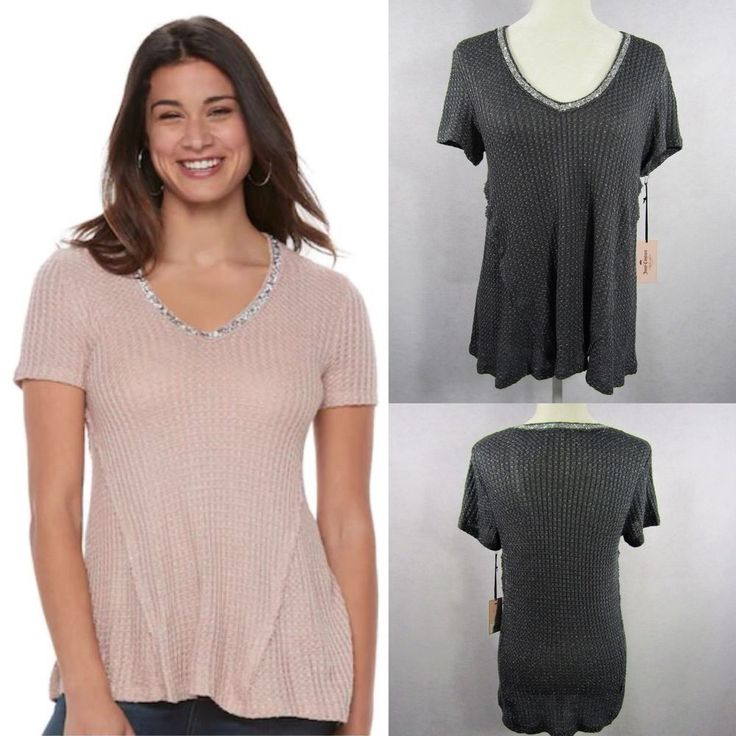 NEW Juicy Couture Embellished Glitter Sparkly Top Gray Women's Sz M NWT MSRP $38 #JuicyCouture #Vneck #Any