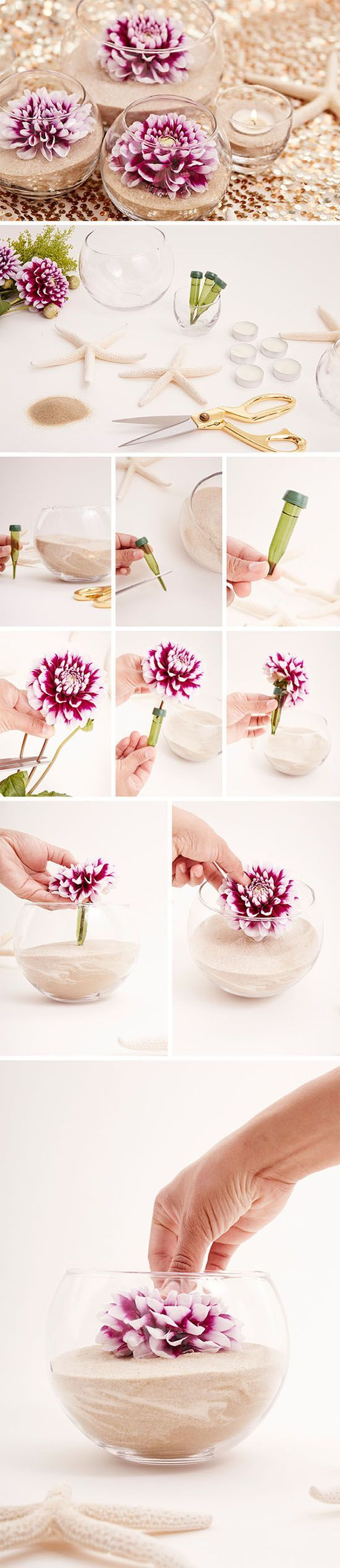 diy flower and sand glass wedding centerpieces / http://www.himisspuff.com/diy-wedding-centerpieces-on-a-budget/8/