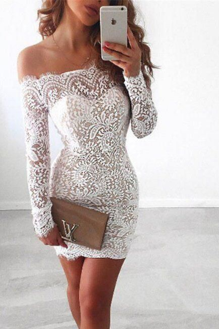 e429ba1403f Off Shoulder Long Sleeves Short Bodycon Lace Dress