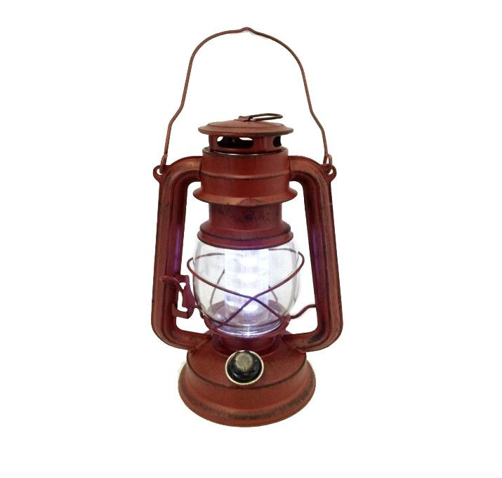 Large Red Antique Battery-Operated Lantern