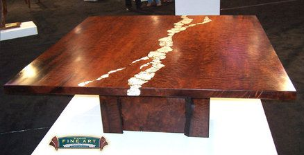 Redwood Burl table with Stone Inlay and pure Gold