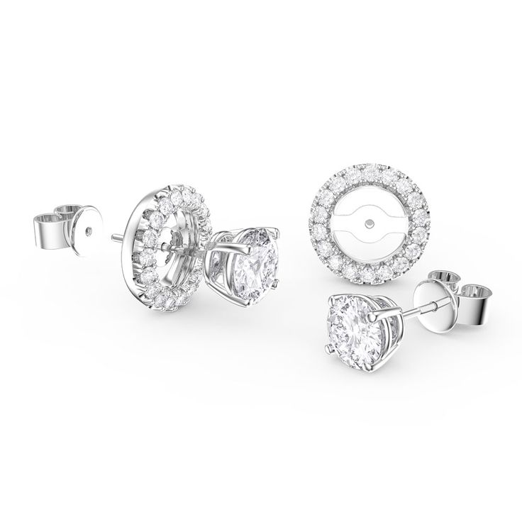 Buy Fusion White Sapphire Stud and Halo Jacket Silver Earring Set (WHITE GOLD), E11667 - £100 from Jian London. Free Delivery on all orders.