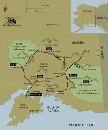 Map of Northern Lights Motorcycle Adventure. Click here to find out more: https://www.motoquest.com/guided-motorcycle-tour.php?alaska-northern-lights-31