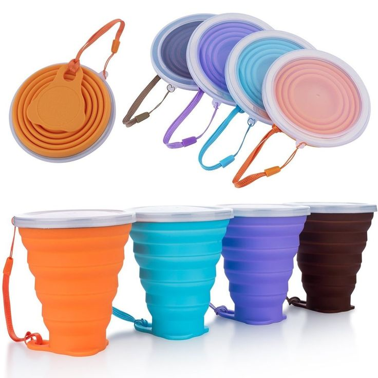 Collapsible Travel Cup Silicone Folding Camping Cup with Lids - 4 Pack  #MEFAN