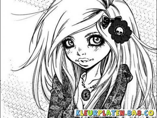 Schilderij vrouw Anime Manga |  KLEURPLATEN ANIME | Kleurplaten en het schilderen van een meisje in manga en anime | kleurplaten.8a8.co