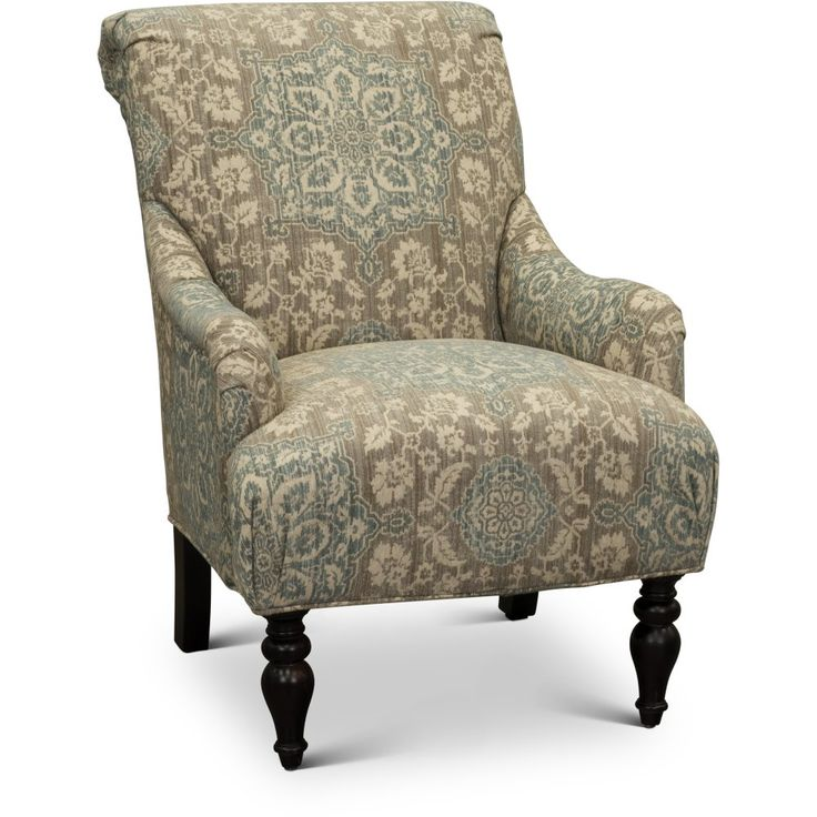 Classic English Cream And Blue Floral Accent Chair